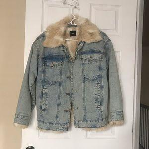 BDG faux fur lined denim jacket